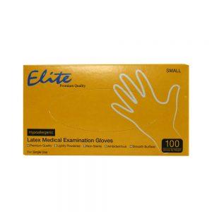 دستکش یکبار مصرف 100 عددی لاتکس الیت Elitte کم پودر در سایز های مختلف